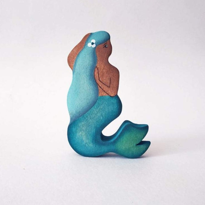 Blue Haired Mermaid - Fairy Wooden Handmade Waldorf Open-ended Toy