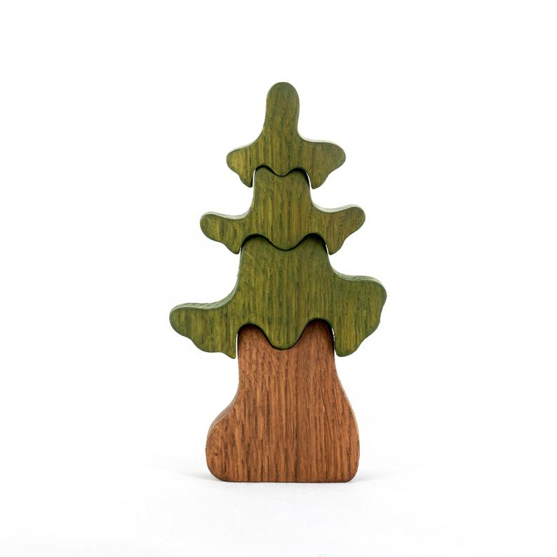 Spring Small Fir Tree - Wooden Handmade Montessori Open-ended Toy