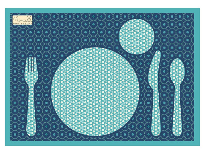 Montessori Blue Table Setting Placemat -Support Children Independence