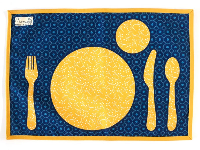 Montessori Yellow Table Setting Placemat -Support Children Independence