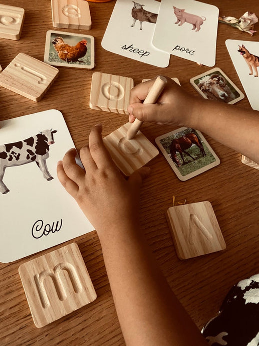 Wooden Alphabet Tracing Cards - Handmade Montessori Learning by Playing Materials