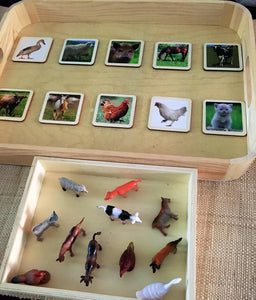 Matching Activity Farm Animals Miniature - Object To Card Montessori Waldorf