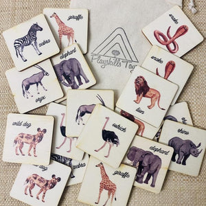 Wild Animals Memory Game - Wooden Handmade Montessori Material