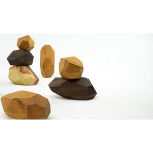 7 Pieces Wooden Tumi Ishi Set Handmade Stacking Stone - Open-ended Toy