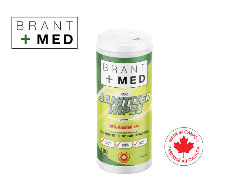 Brant+Med 100ct 70% Wipes Sanitizer ( Made in Canada)- Ltd Qty.