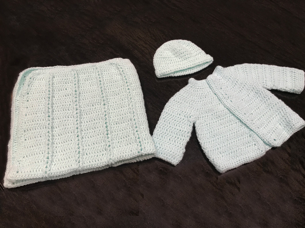 Hand Knitted Ultra Soft Pure Wool Baby Coat and Blanket