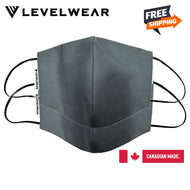 Levelwear- High Quality Reusable Cotton Face Mask - Charcoal Colour - 2 pcs per pack