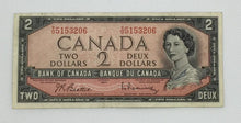 Load image into Gallery viewer, 1954 Bank OF Canada $2 Dollars Note