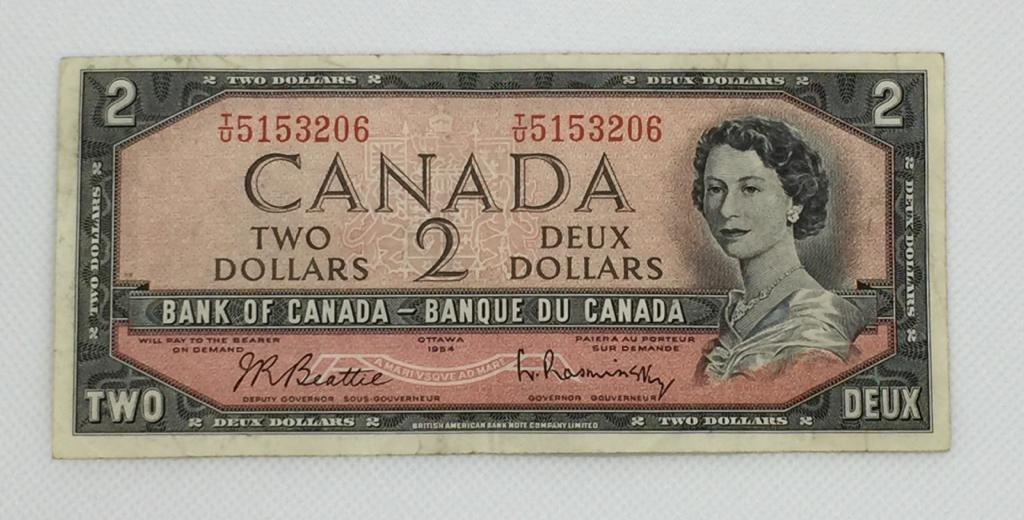 1954 Bank OF Canada $2 Dollars Note