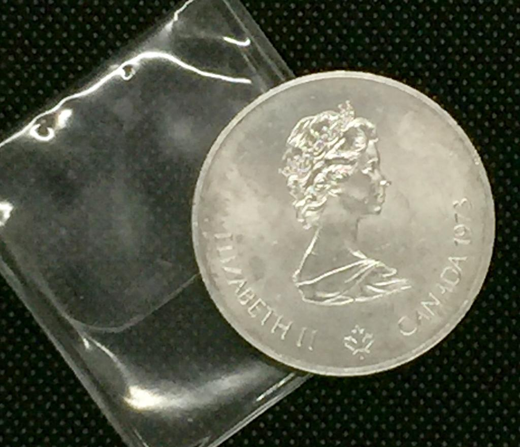 1973 Canada 5 Dollars Olympic Montreal 1976 Silver Coin