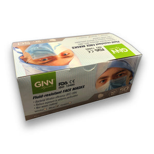 Fluid-resistant Face Mask- 3 ply FDA, CE, ISO 13485 ( Box of 50 pc )