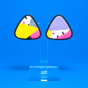 Anniversary patchwork triangle studs