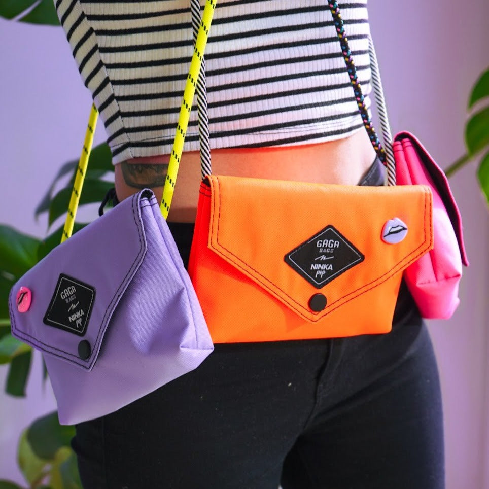 Orange bag (lilac + black/white strap)