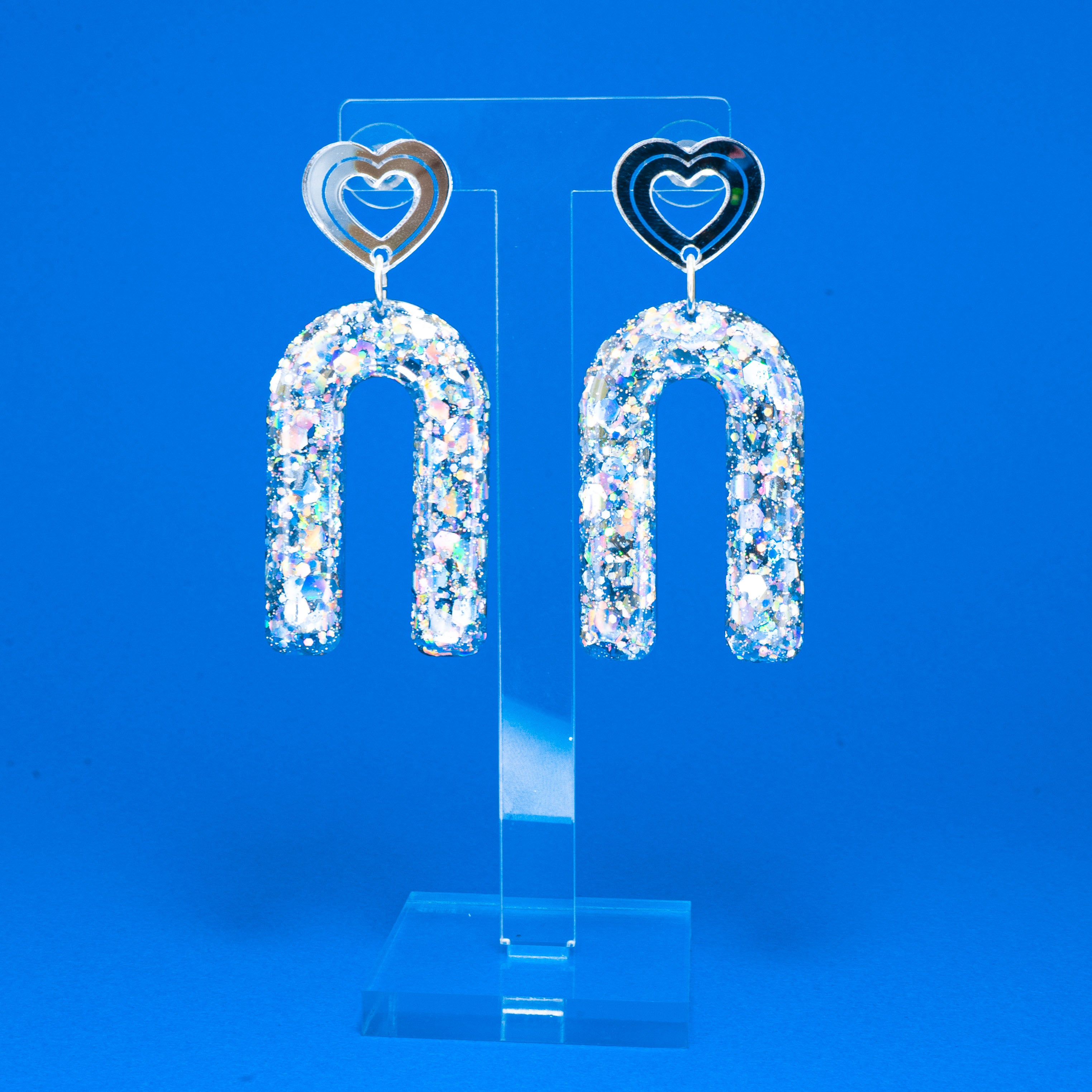 Icebreaker holographic mirror heart dangles