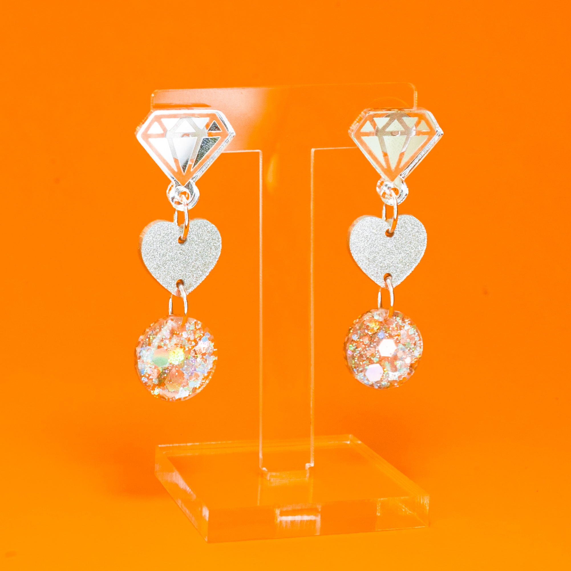 Icebreaker silver heart/diamond small dangles