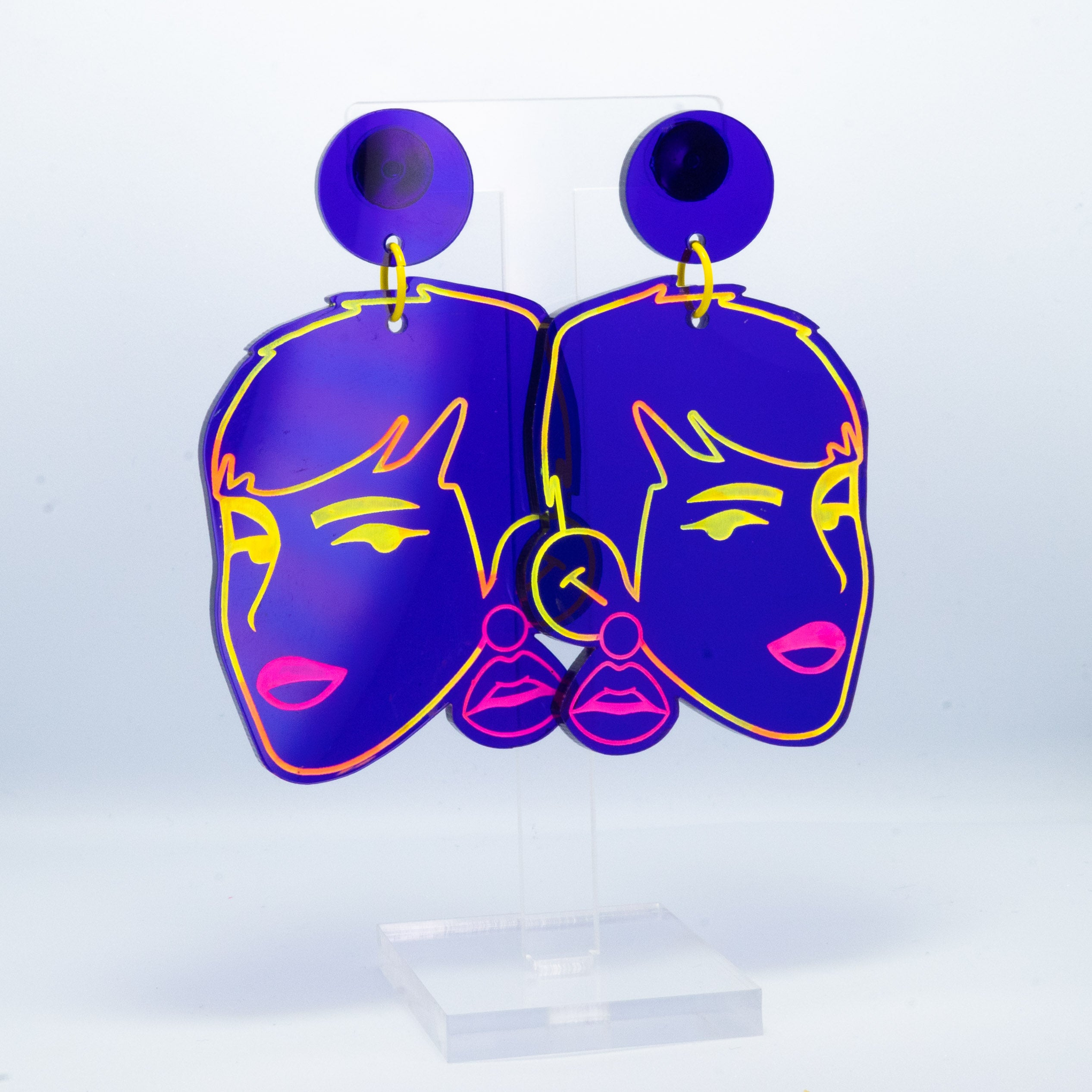Vaporwave large purple Ninka Pop lady dangles (multi outline)