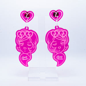 Heartbreakers pink large dangles (pink outline)