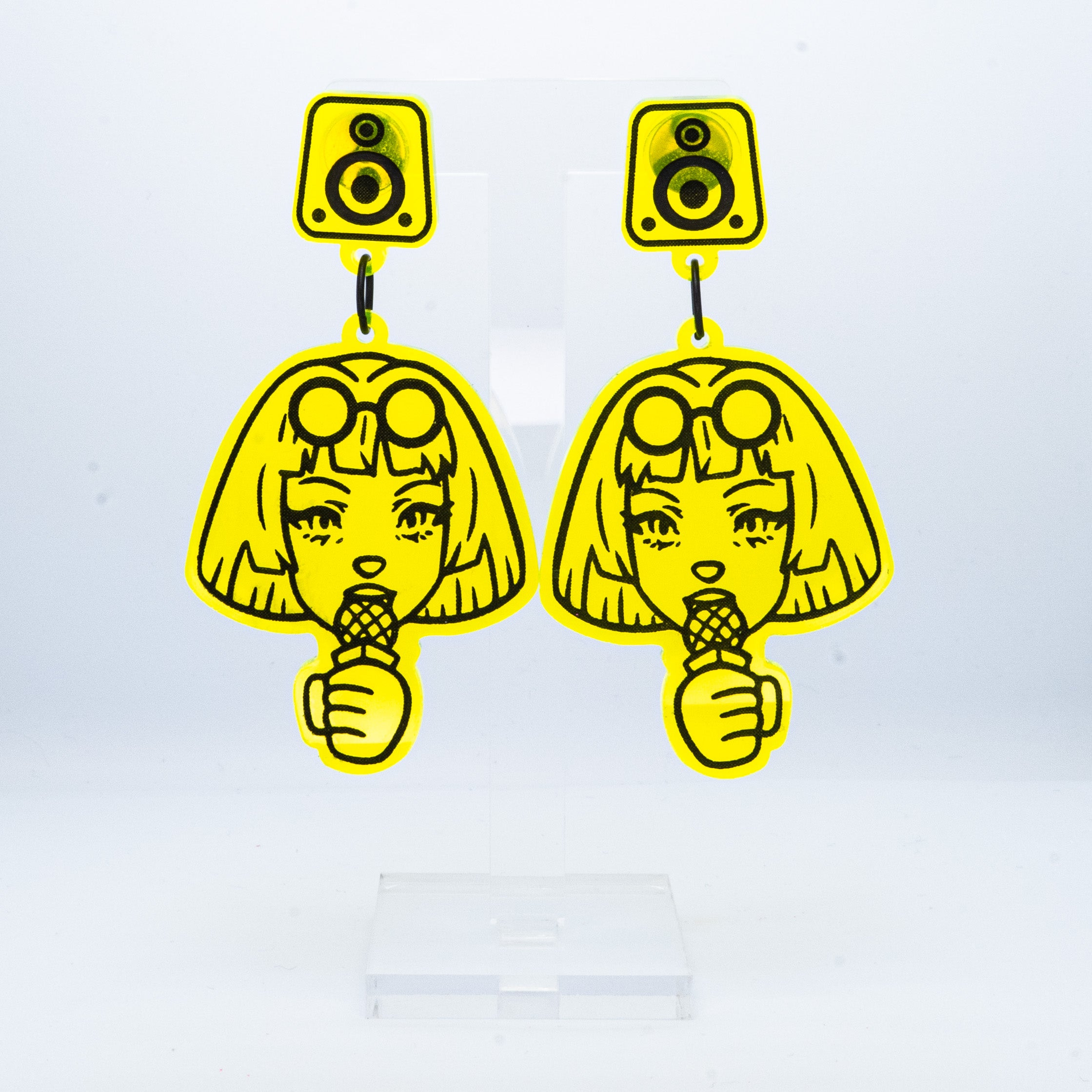 Speak Up speaker neon yellow large girl dangles