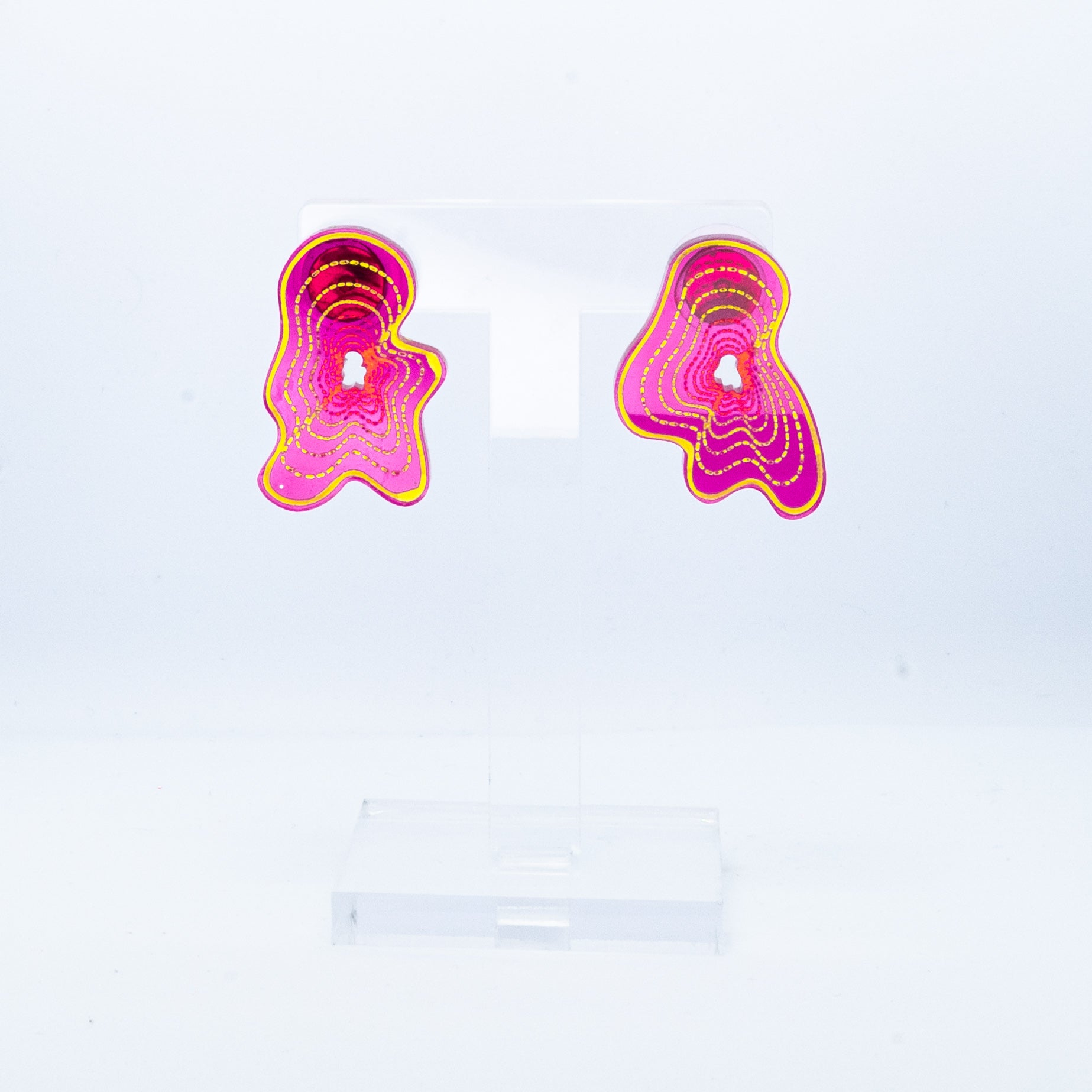 Vaporwave small pink blob studs (yellow outline)