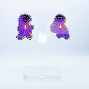 Vaporwave small purple blob studs (yellow outline)