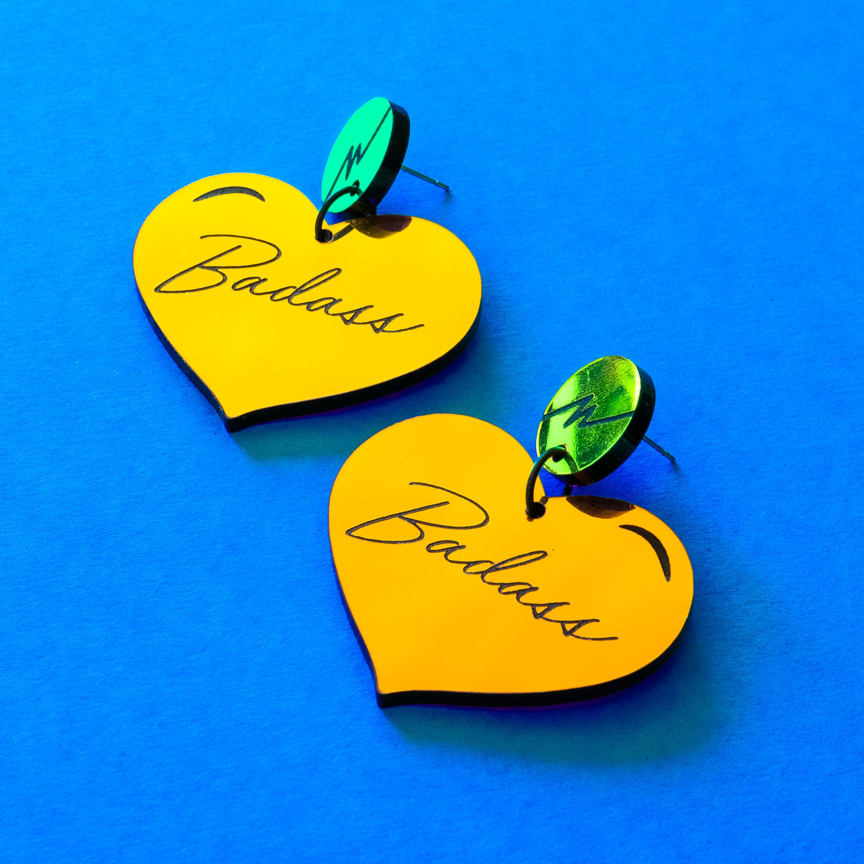 Badass colorful mirror heart dangles
