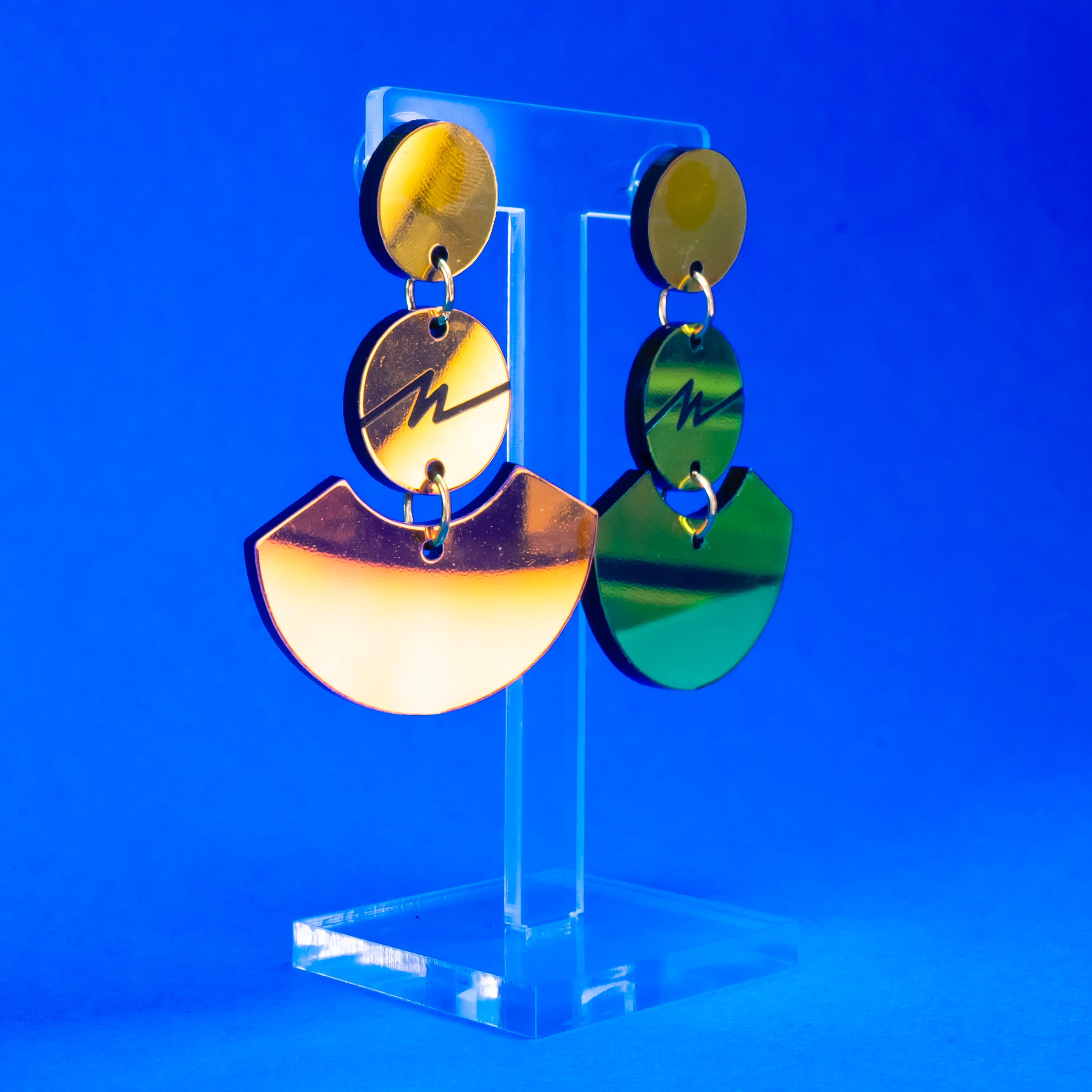 Colorful mirror squiggle fan dangles
