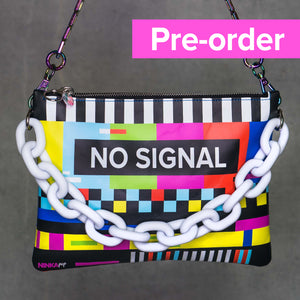 No Signal purse PRE-ORDER (white chain, blue back, iridescent)