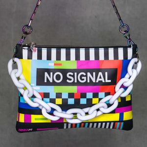 No Signal leather purse (white chain, blue back, iridescent)