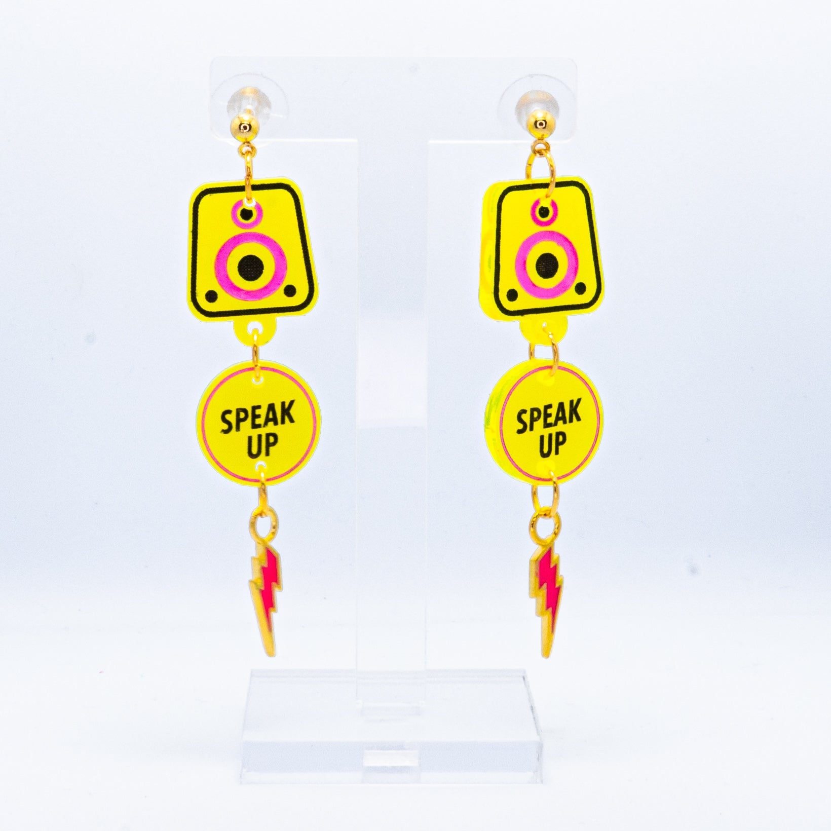 Neon yellow Speak Up speaker bolt dangles