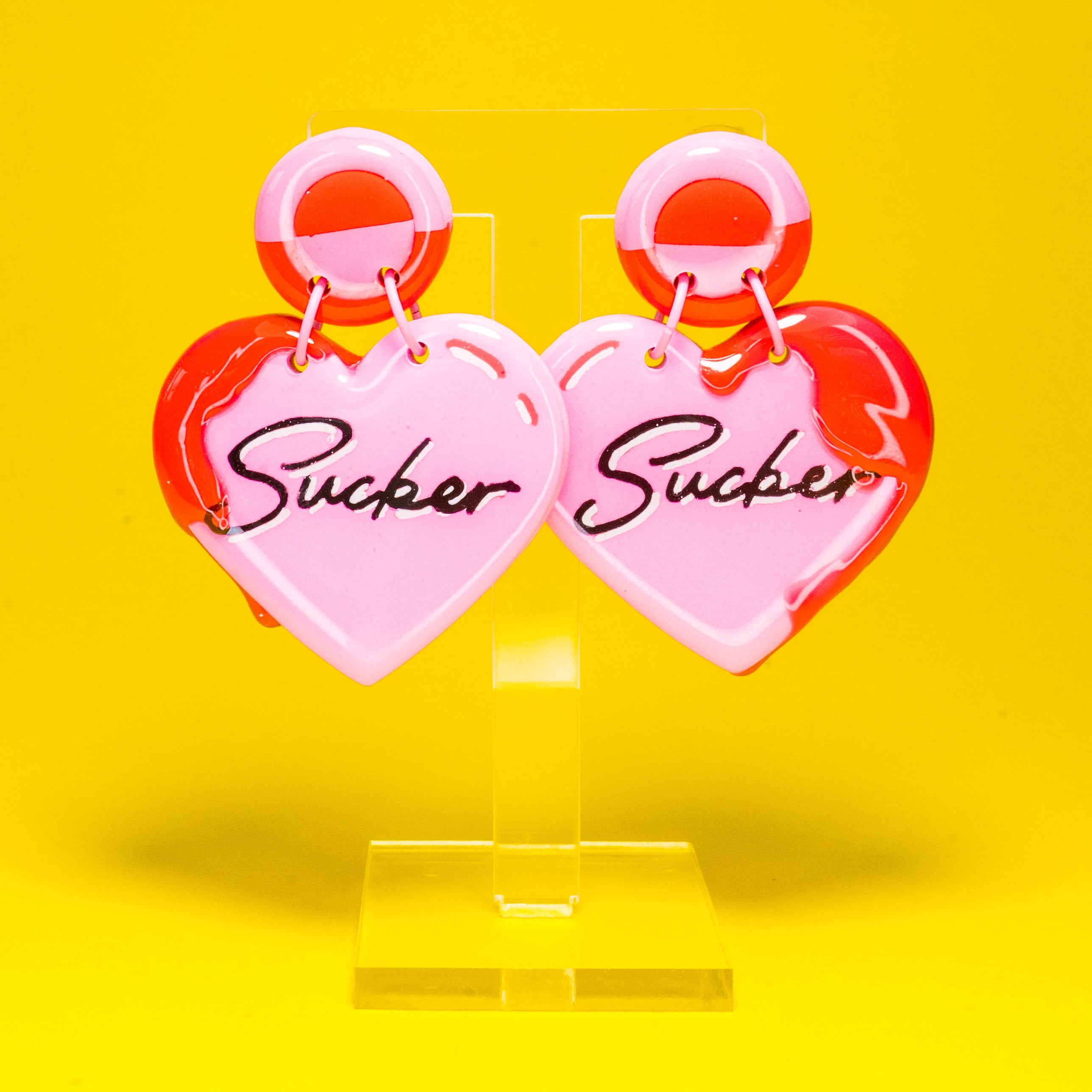 Sucker pink heart dangles