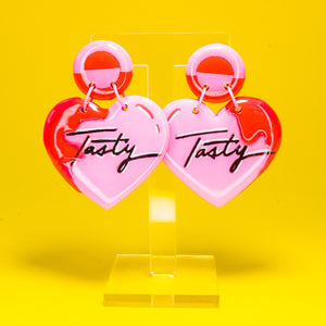 Tasty pink heart dangles