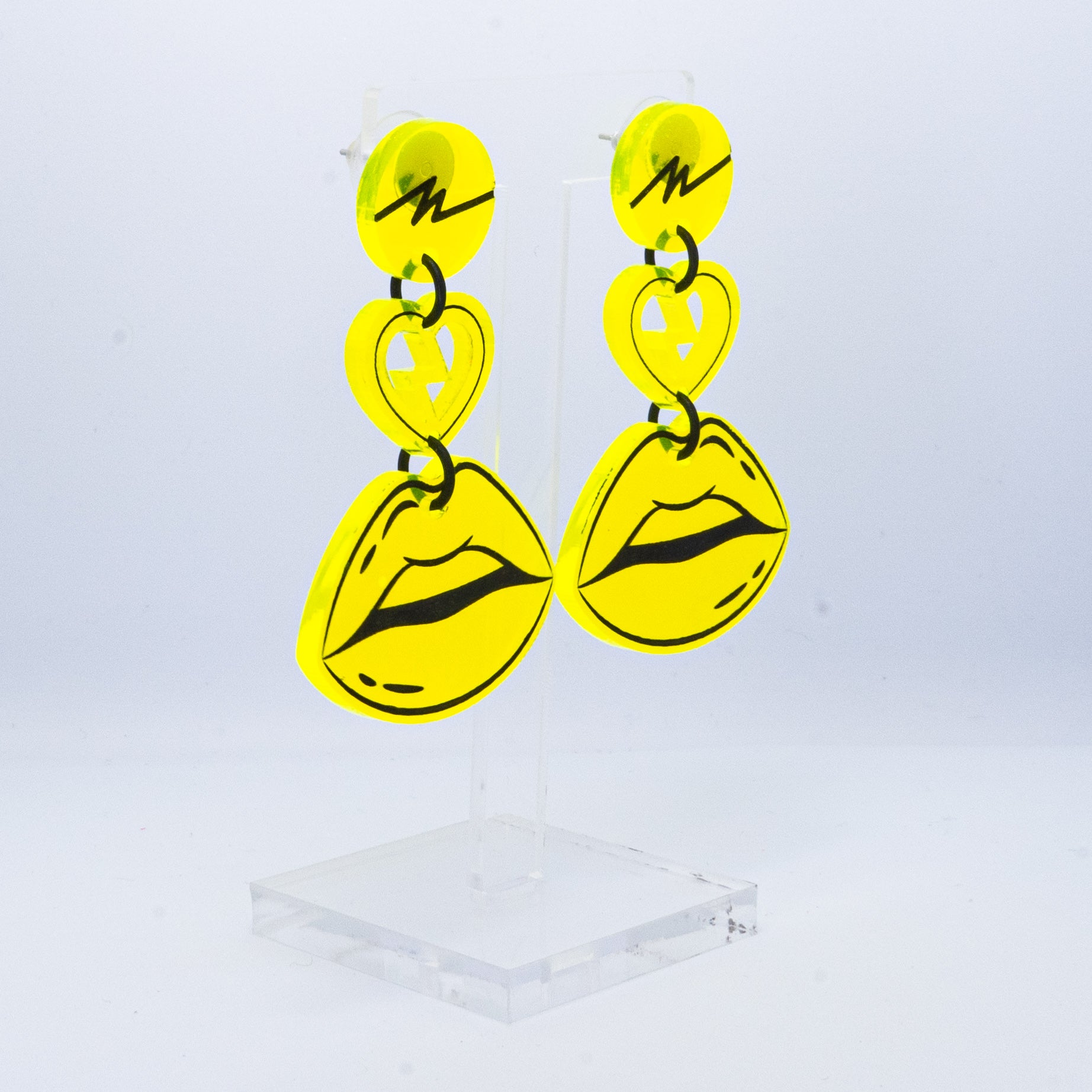 Neon yellow squiggle lip dangles