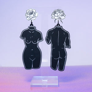 Black leatherette statue dangles