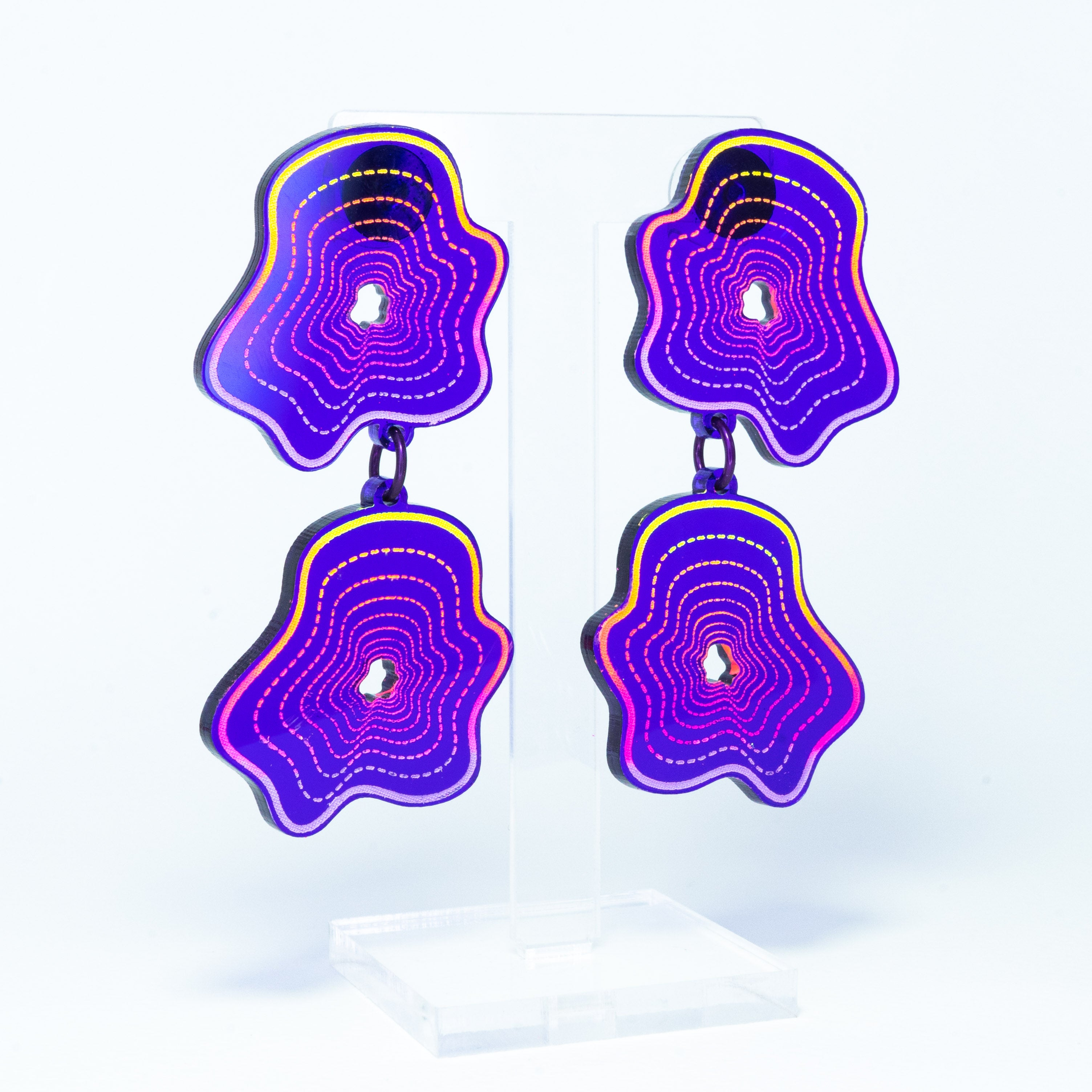 Vaporwave purple double blob dangles