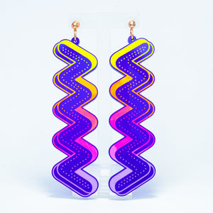 Large purple squiggle rainbow dangles (dots)