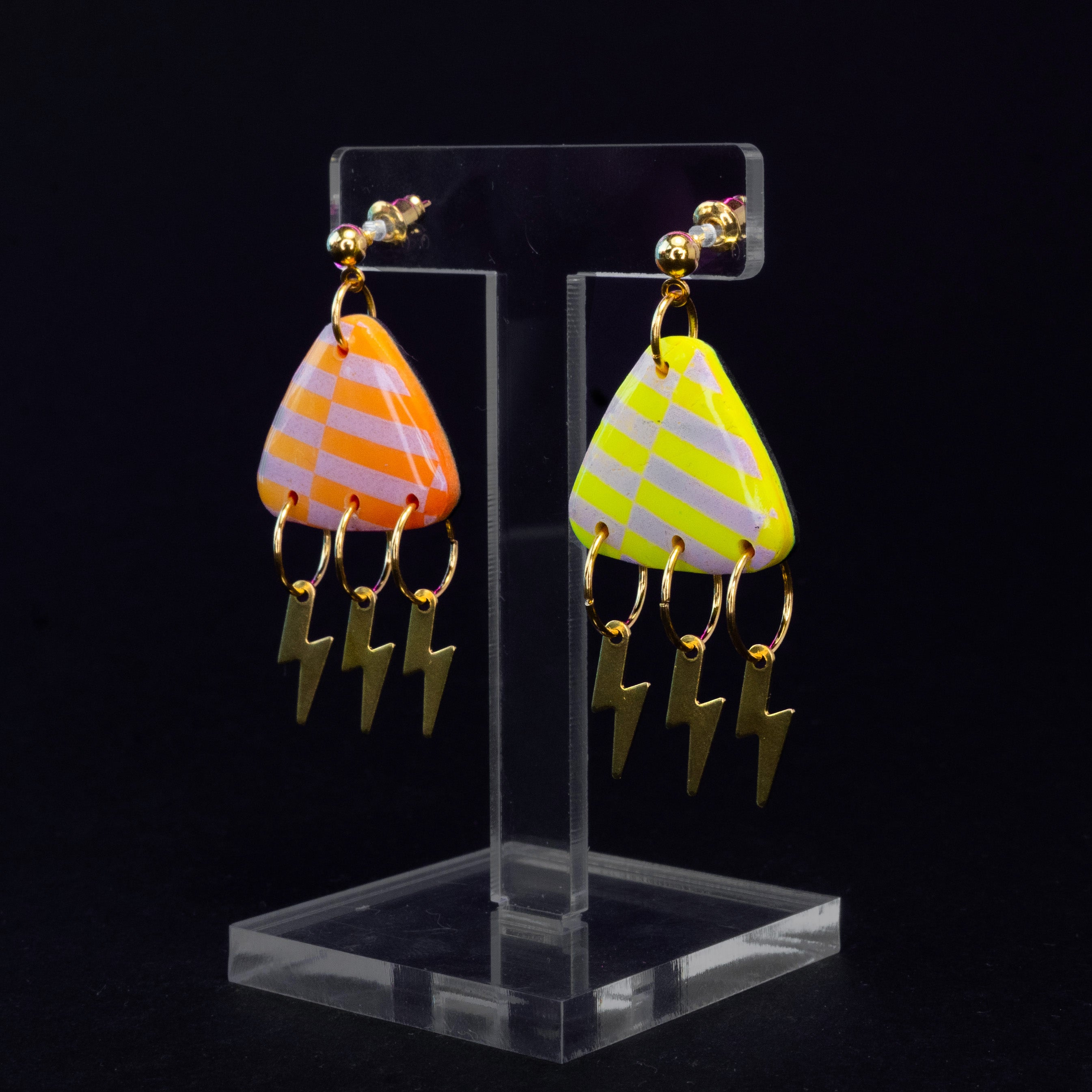 Medium orange triangle lightning bolt dangles