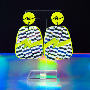 Neon yellow (glow in the dark) squiggle Rock dangles