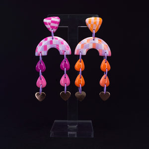 Pink and orange gradient drop dangles