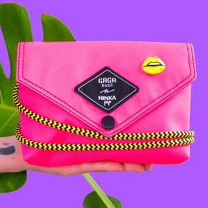Pink bag (yellow/black +  pink multi strap)