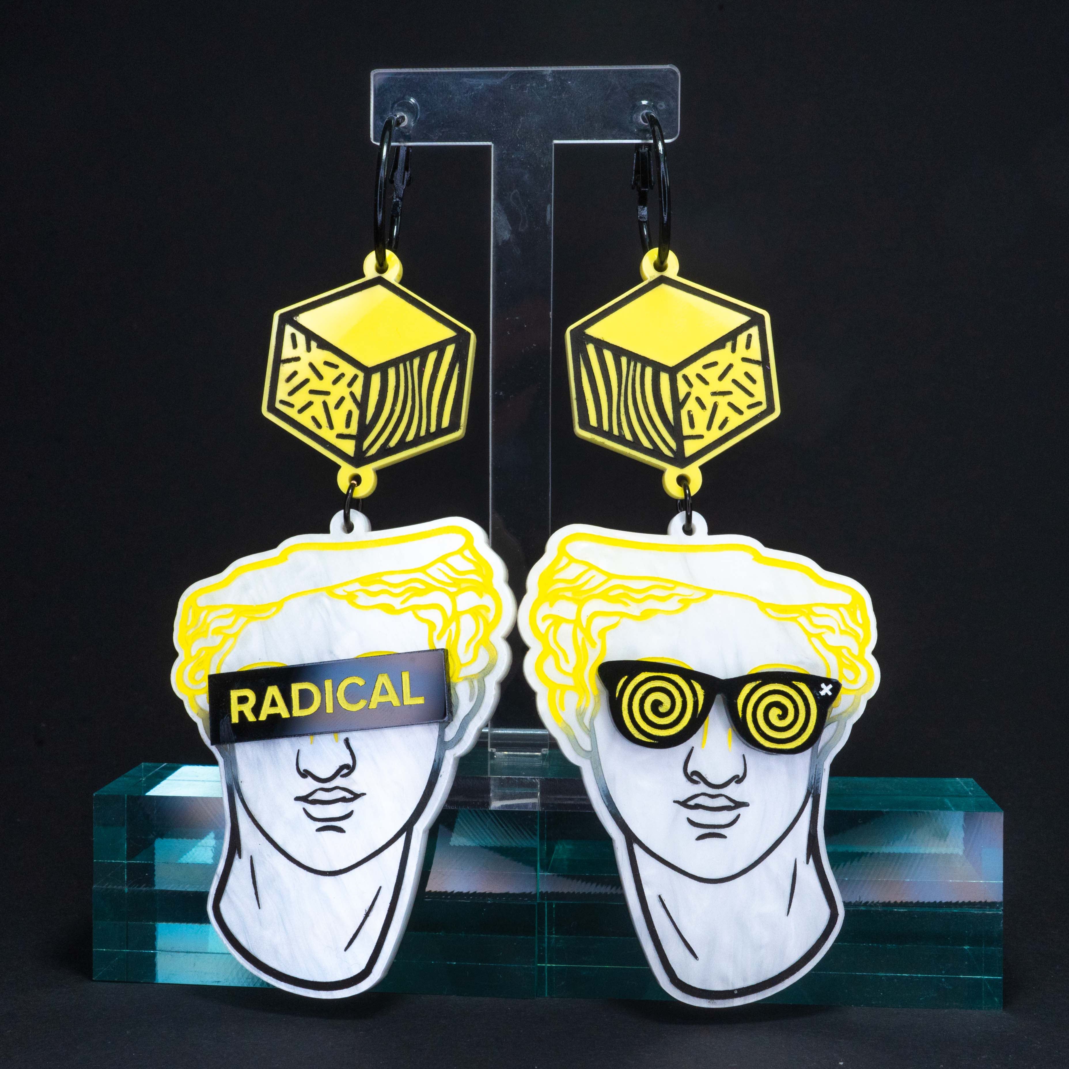 "Marble yellow 'Radical"" boi hoops (x-large)"