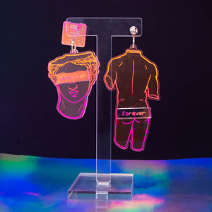 Neon pink 'whatever forever' medium statue dangles