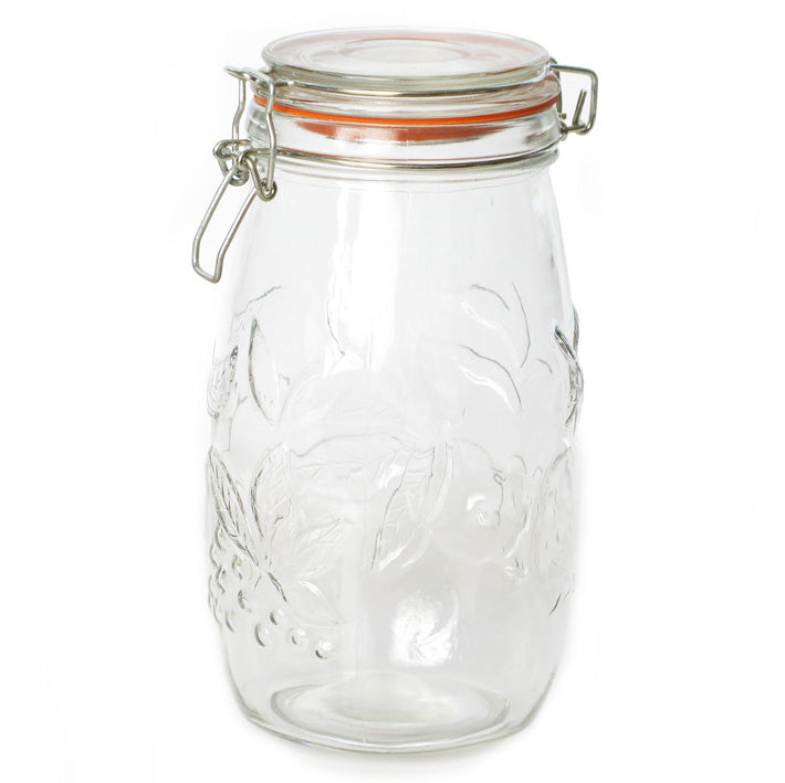 Kates Kitchen Embossed Clip Top Jar 1.5L is ideal for preserving and storing dry goods. Essential for every home preserver.