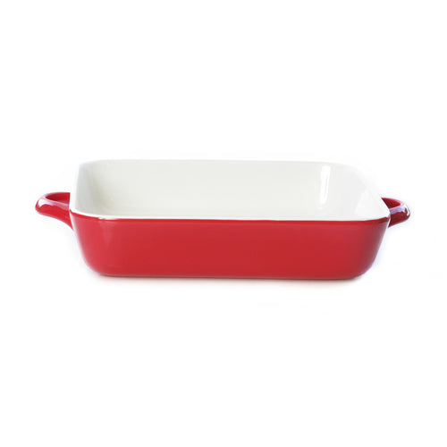Buy cute red square baker online. Handles for easy carry, safe for oven, microwave and freezer use