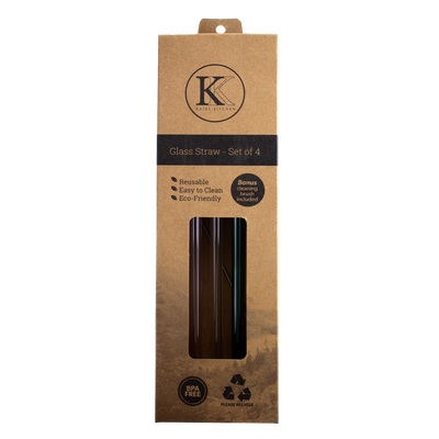 Kates Kitchen glass straws are a stylish and environment-friendly alternative to single-use plastic straws!