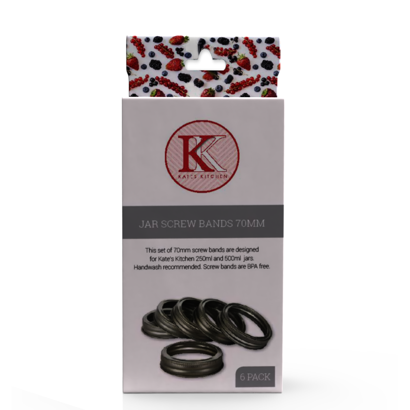 Kates Kitchen replacement screw bands 70mm are an essential to any home preservers kitchen. Use with our 500ml and 250ml embossed jars