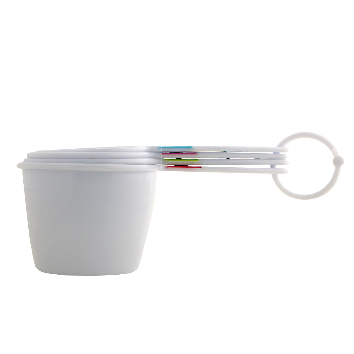 Kates Kitchen 4 piece measuring cup set, clearly marked with cup and ml measures. Dishwasher safe for easy cleaning