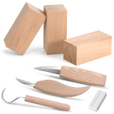 [Complete] Wood Carving Tools Kit Knife Whittling Woodworking Set, Includes 3 Basswood Carving Blocks, Knife, Detail Wood Knife, Whittling Knife