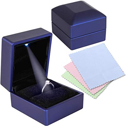 Gaxcoo Engagement Ring Box for Proposal with LED Light and 3 Piece Jewelry Polishing Cloth