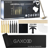 Gaxcoo Gun Cleaning Kit for All Guns - Rifle,Hunting, Pistol, Handgun, Shotgun,Shooting Accessories, Multi-Caliber, Gun Cleaner, Includes: Mat, Rods, Punch Set, Bench Block, Hammer and Pads