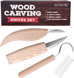 Wood Carving Tools Kit | Sloyd, Hook, Detail Knives | Hardwood Handle Grips Carbide Blades